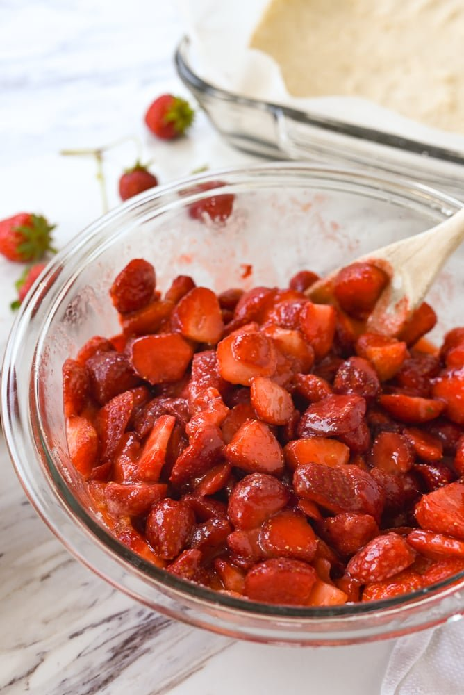 bowl of sugared strawberries