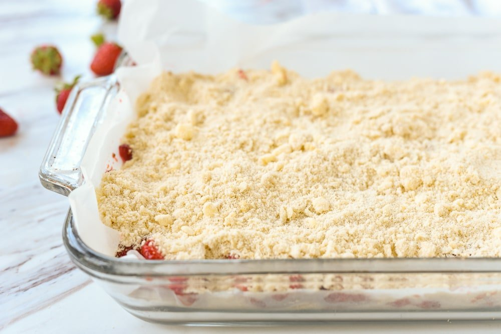 side view of unbaked strawberry bars