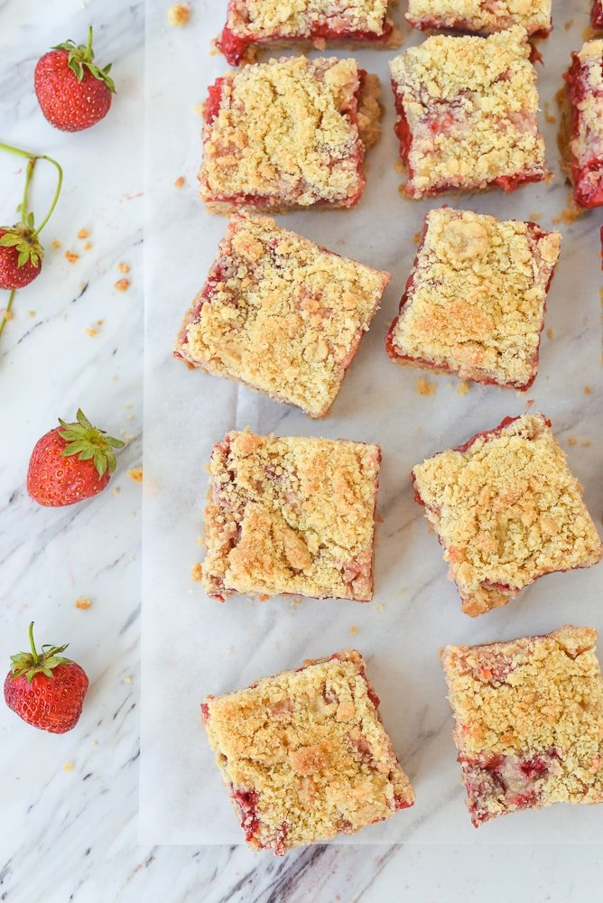 strawberry bars cut into squares