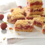 strawberry bar square on parchment paper