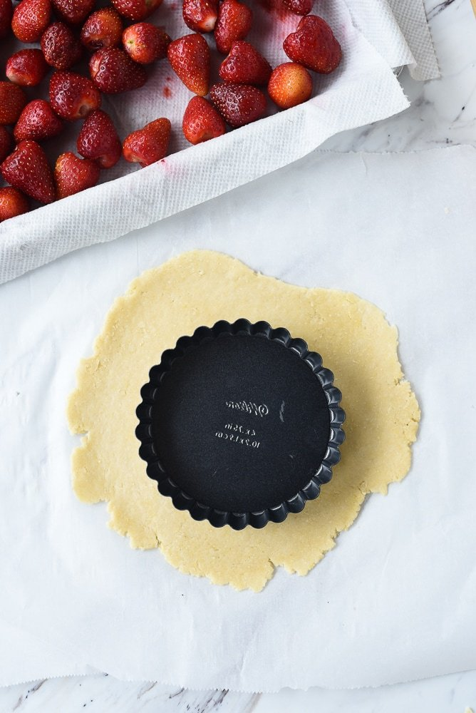 tart pan on top of pastry dough