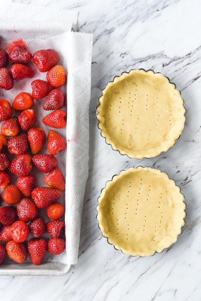 pastry dough in tart pans