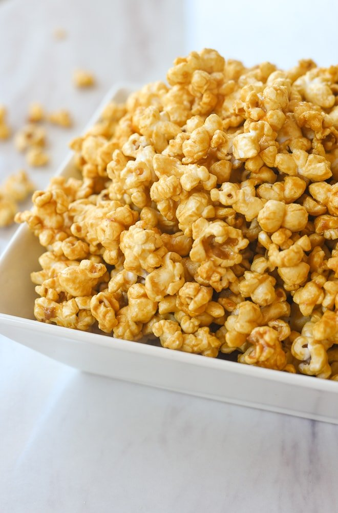 bowl of microwave caramel corn