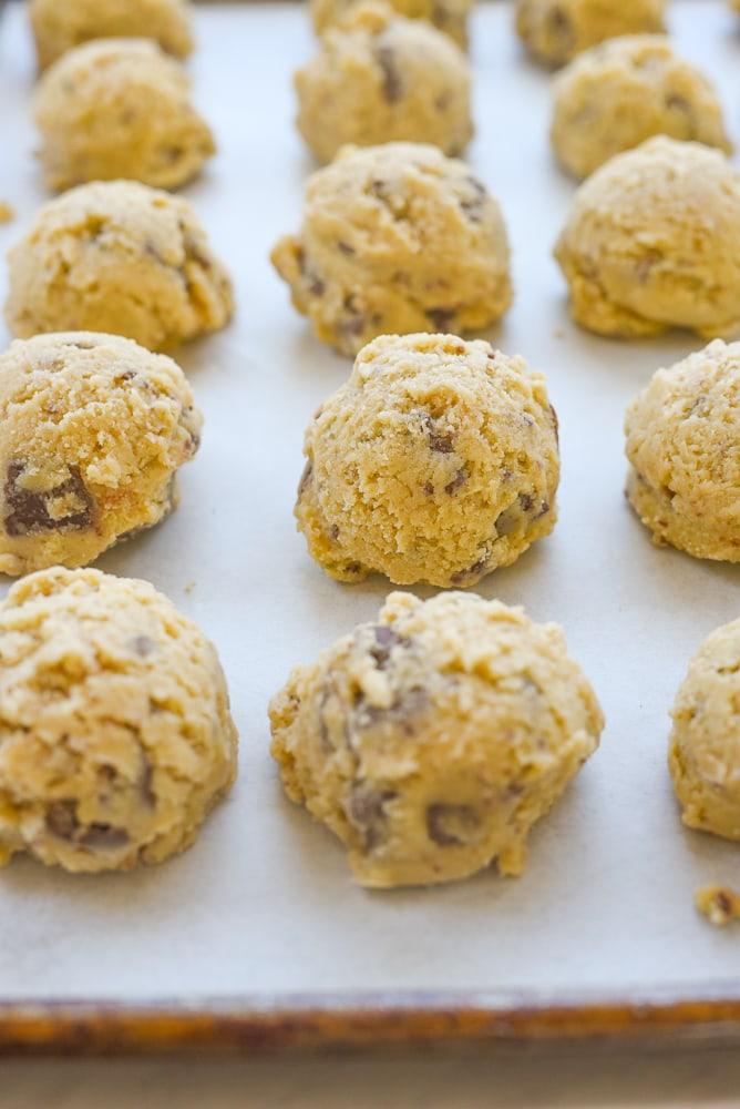 close up of frozen cookie dough