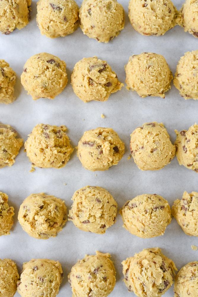 balls of frozen cookie dough