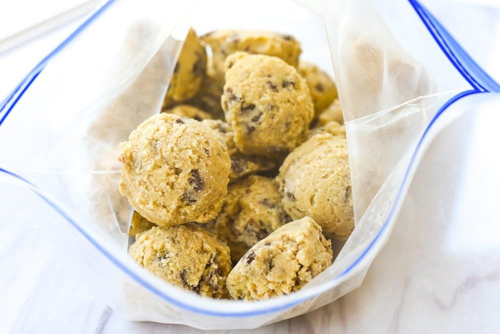 cookie dough balls in a bag
