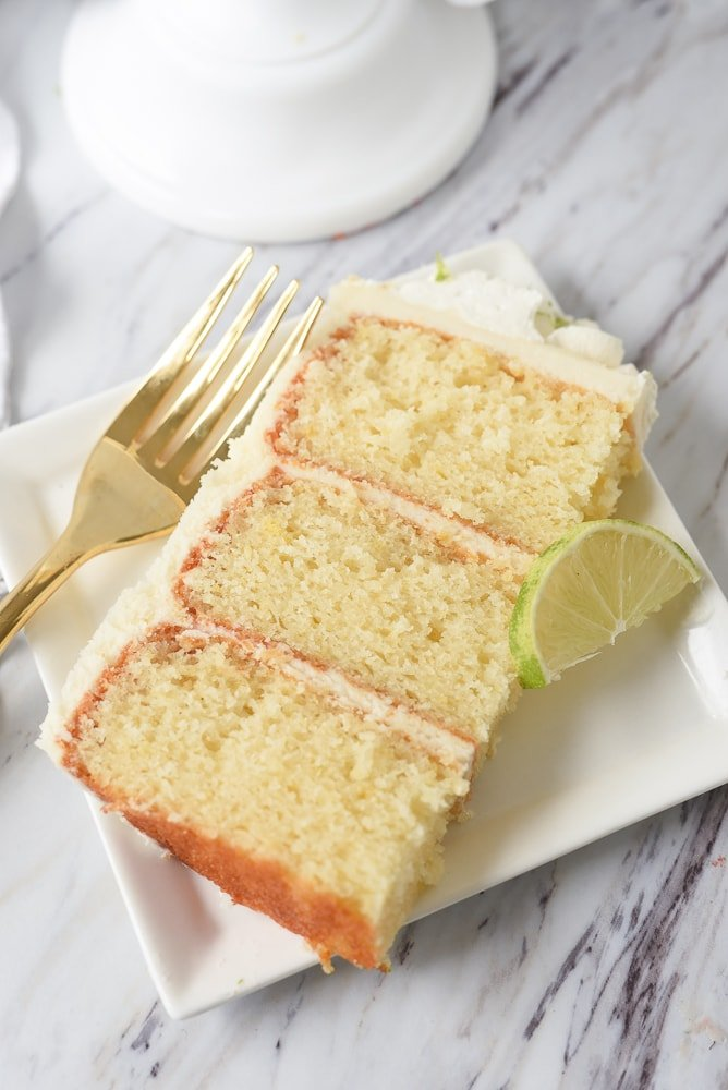 slice of key lime cake