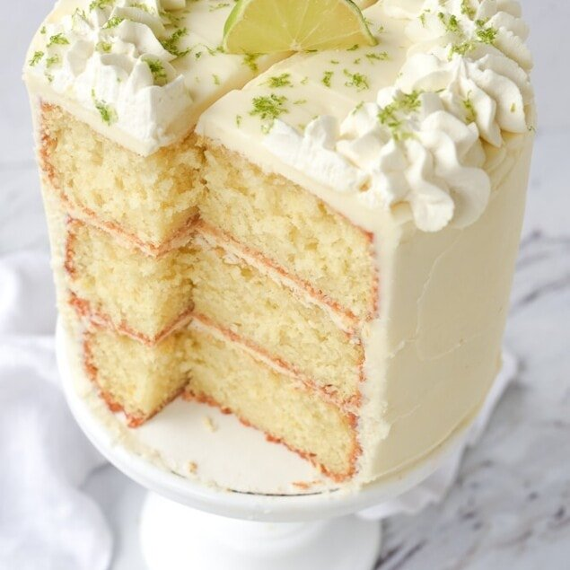 sliced key lime cake