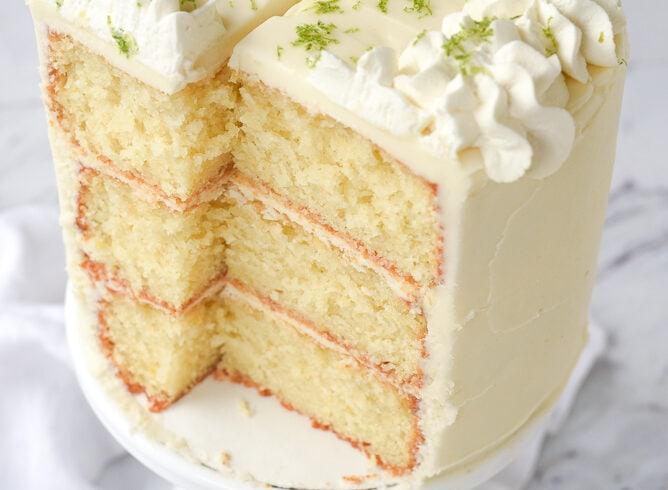sliced key lime cake