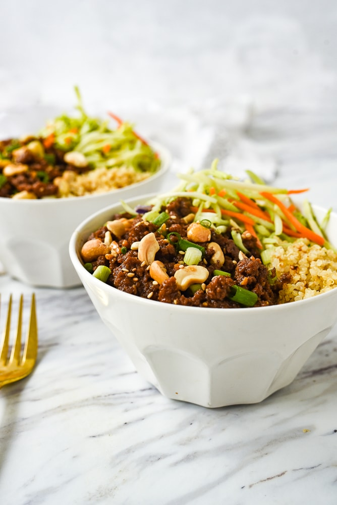 bowls of korean ground beef and veggies