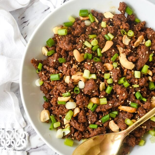 overhead shot of korean ground beef in a bowl