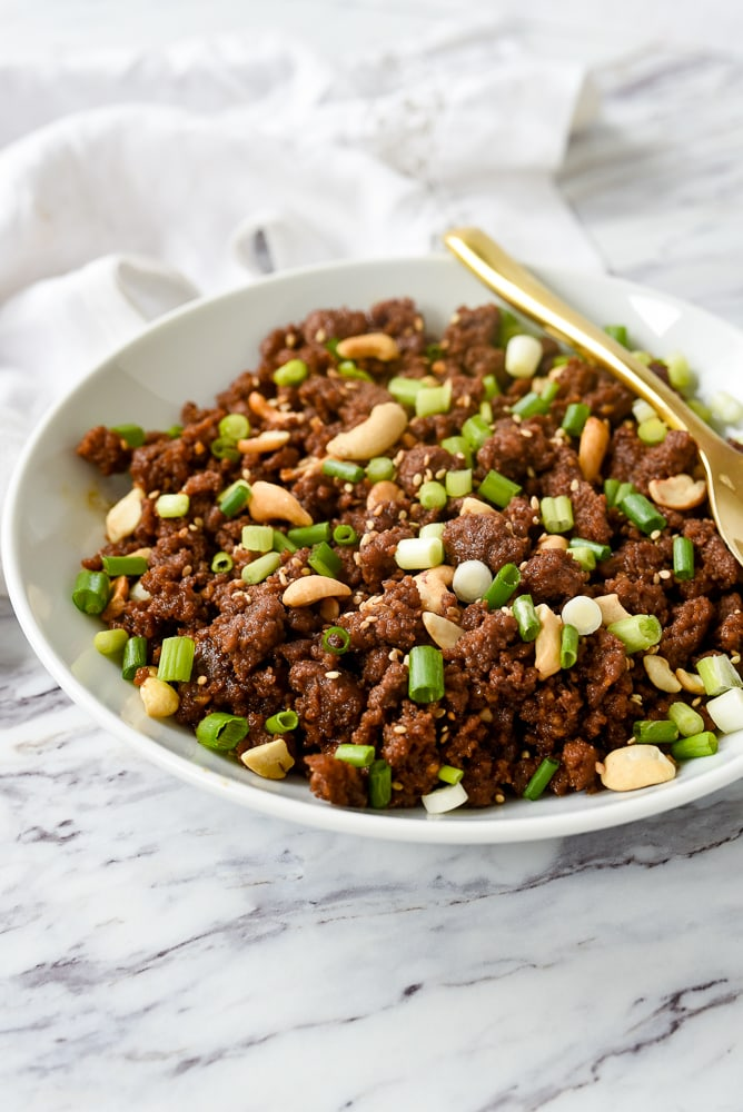 bowl of korean ground beef with cashews