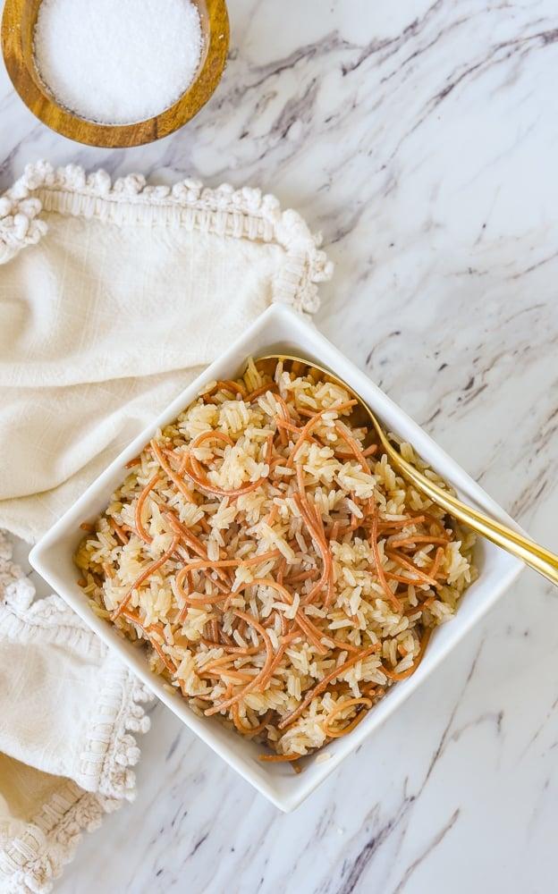 overhead shot of rice pilaf