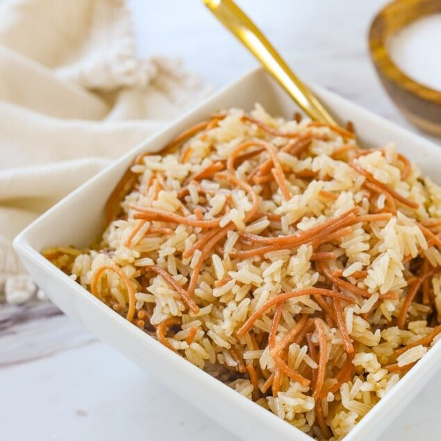 bowl of rice pilaf