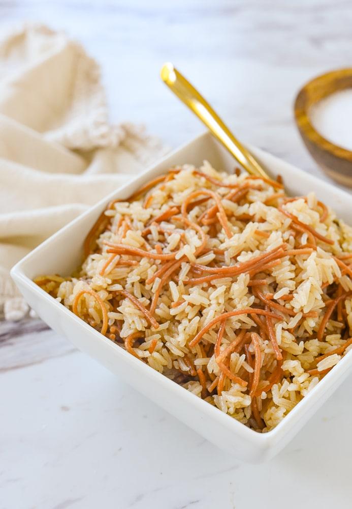 bowl of rice pilaf