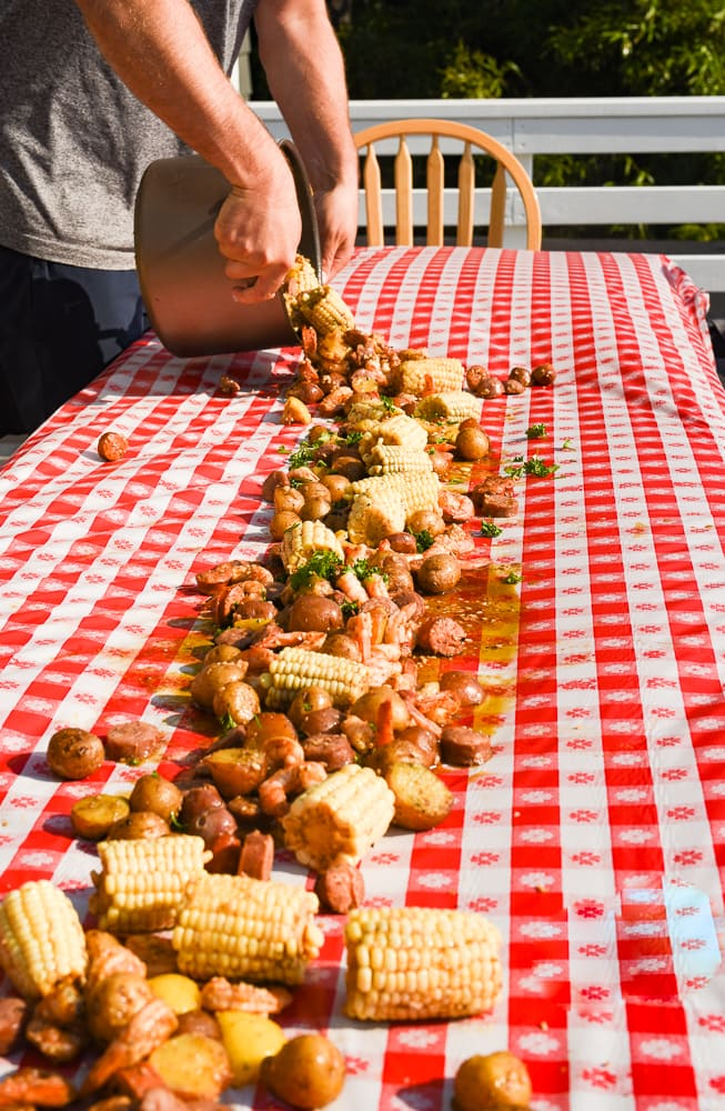 pouring country boil on table.