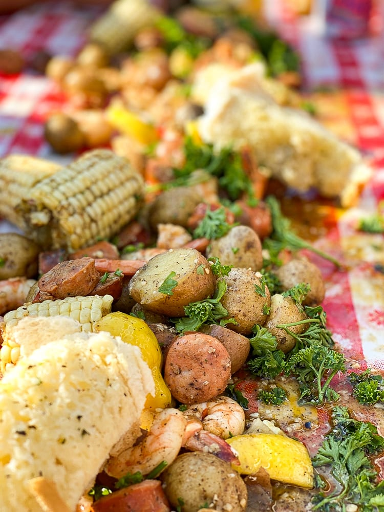 close up of low country boil