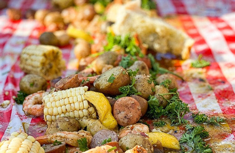 low country boil on a table