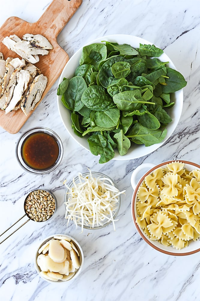 Asian Spinach Salad ingredients