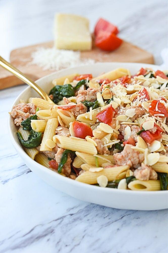 chicken sausage and spinach pasta