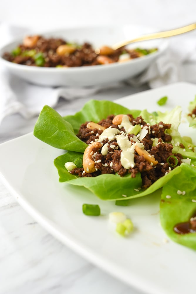 korean beef lettuce wrap on a palte