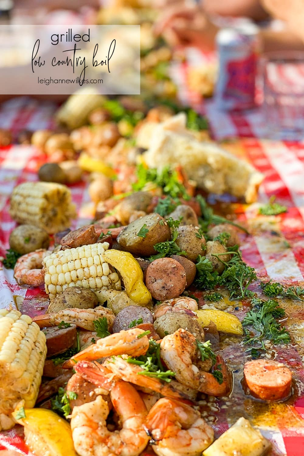 low country boil spread on a table