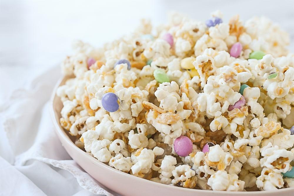 pink bowl of popcorn