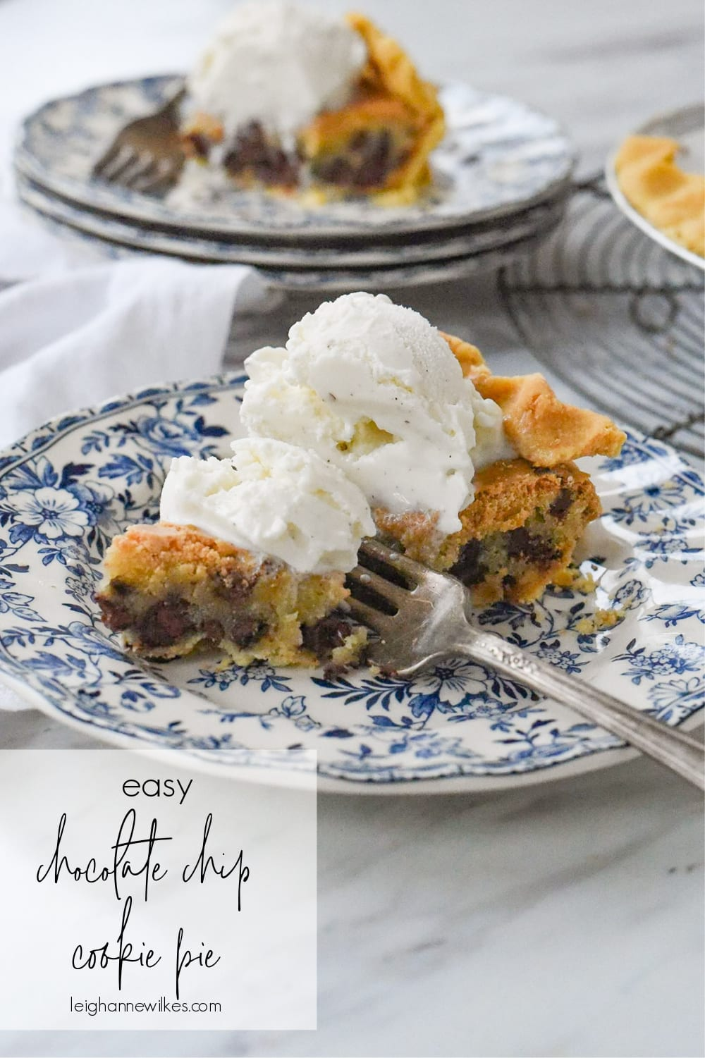 slice of chocolate chip cookie pie with ice cream