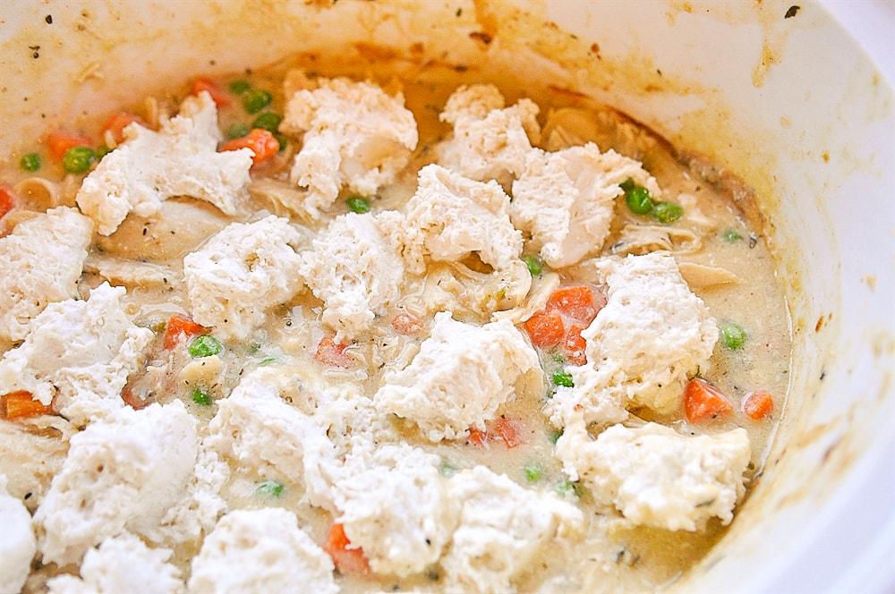 dumplings on top of chicken and dumplings in crock pot