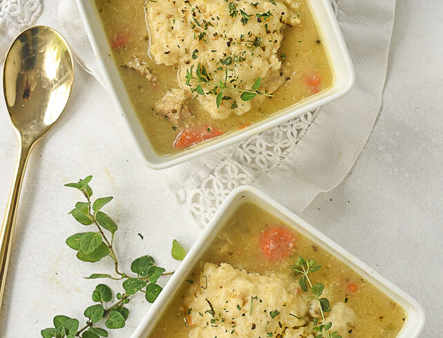 overhead shot of chicken and dumplings