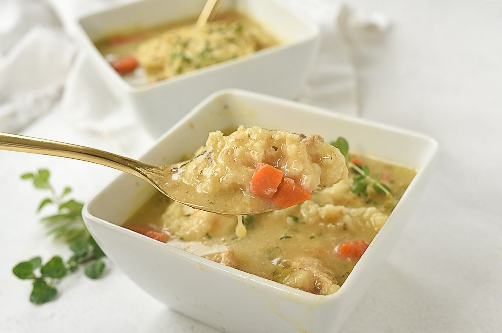 spoon ful of chicken and dumplings