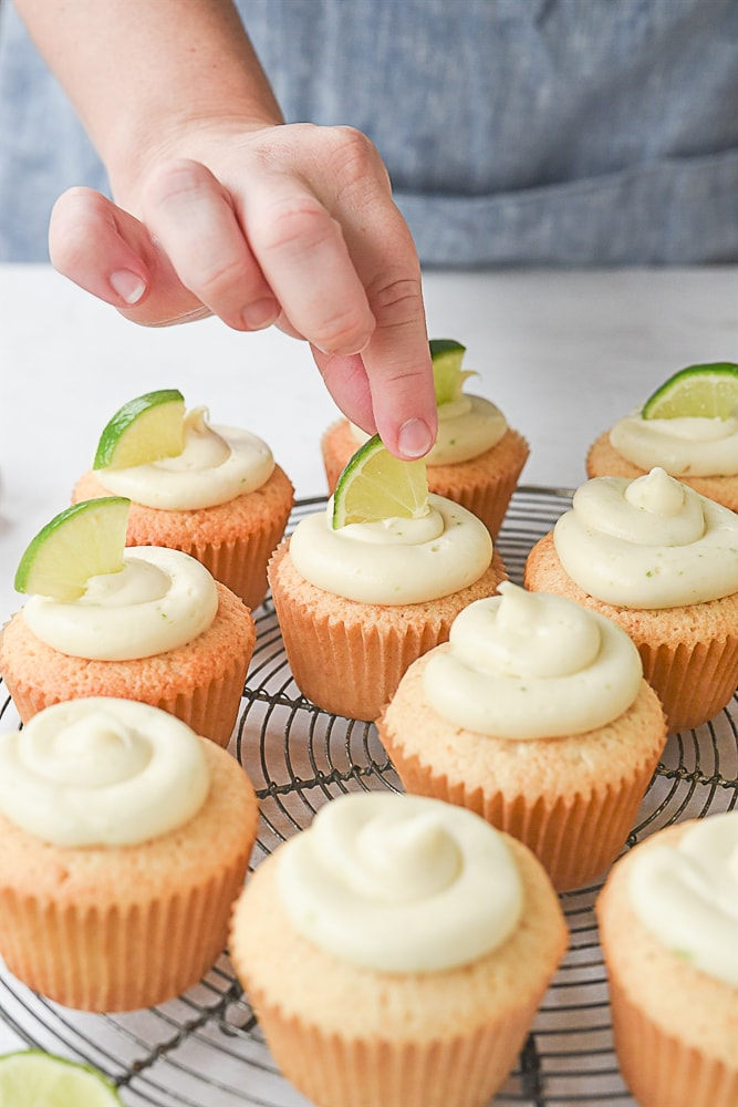 lime on top of a cupcake