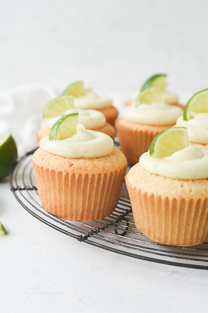 Margarita Cupcakes on a cooling rack