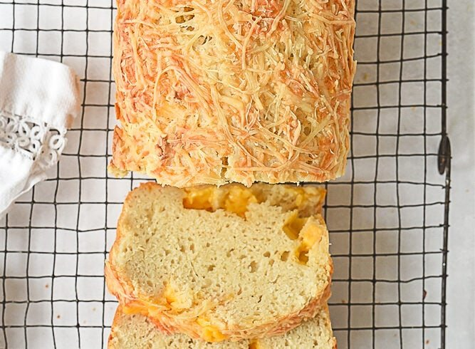 overhead shot of cheese bread