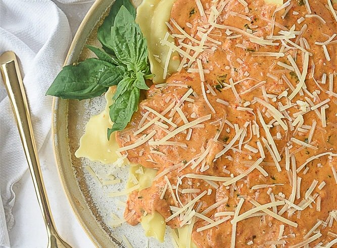 plate of roasted red pepper cream sauce