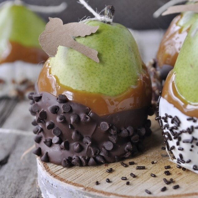 caramel covered pear with chocolate chips