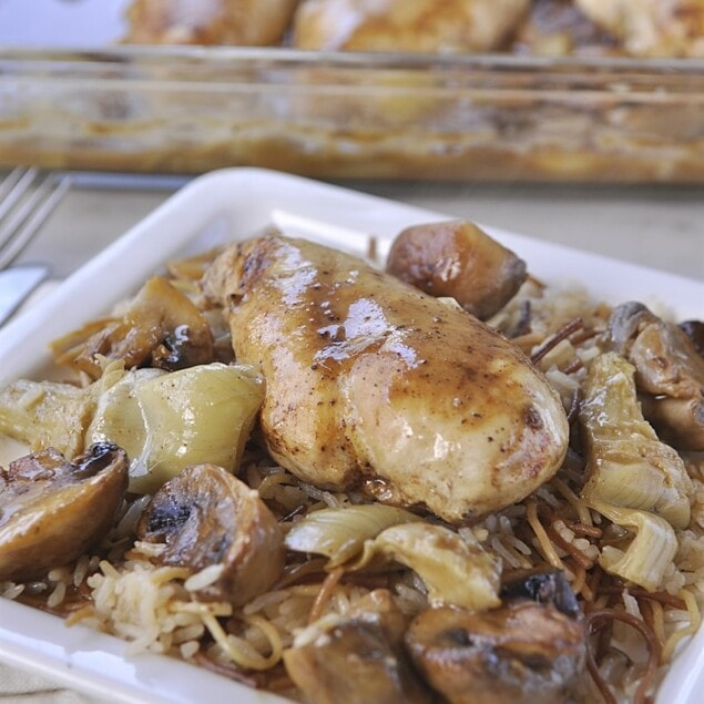 plate of chicken and mushrooms