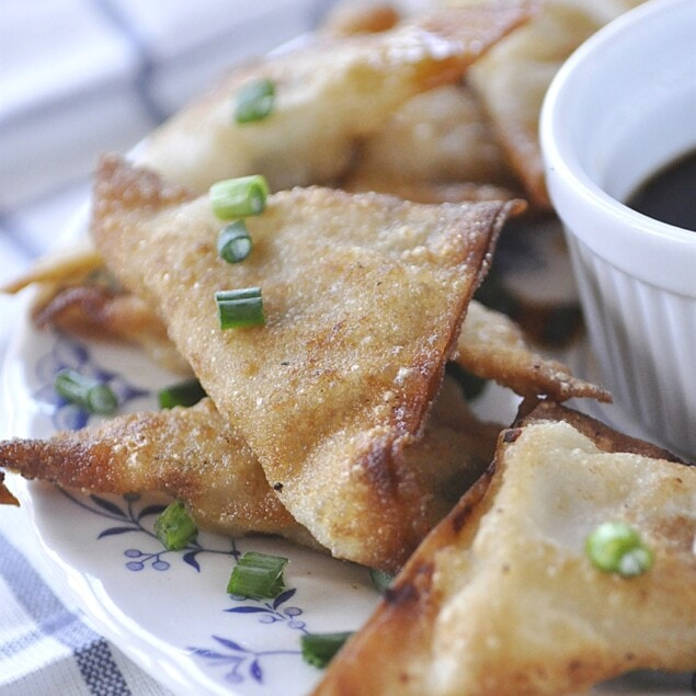 plate of chicken pot stickers