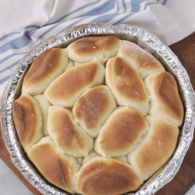 pan of parkerhouse rolls