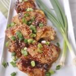 white plate of honey ginger chicken