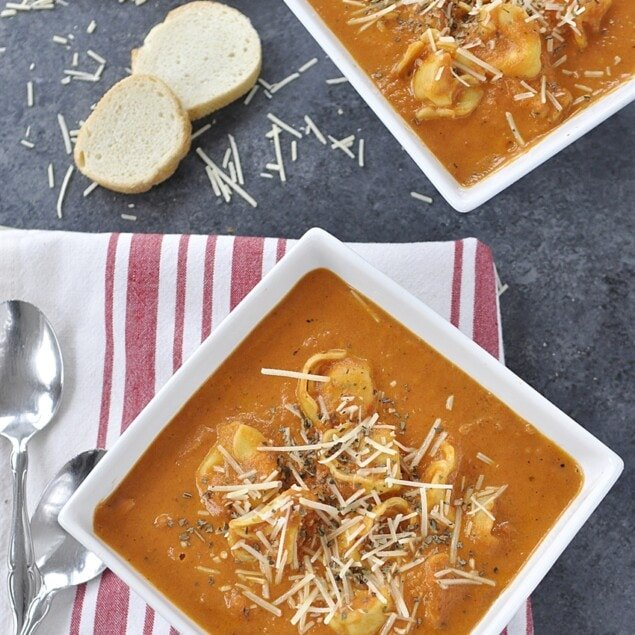sundried tomato tortellini soup in a bowl