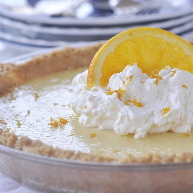 orange pie with whipped cream