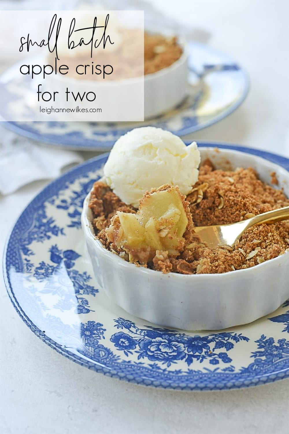 apple crisp with a scoop of ice cream