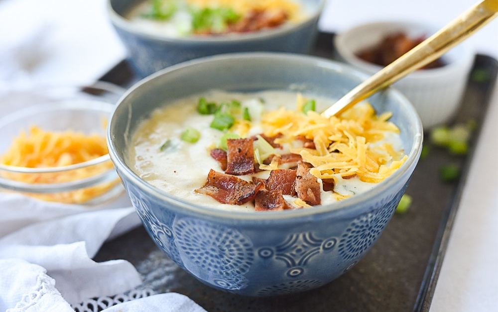 potato soup with bacon on top