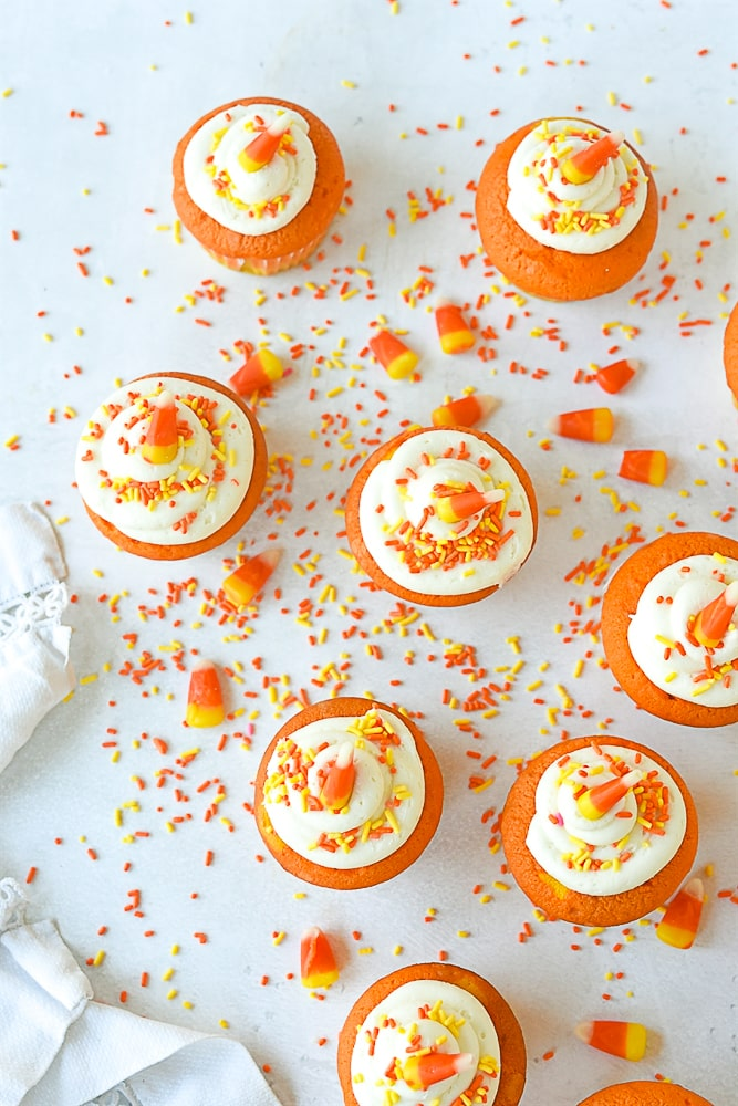 overhead shot of candy corn cupcakes