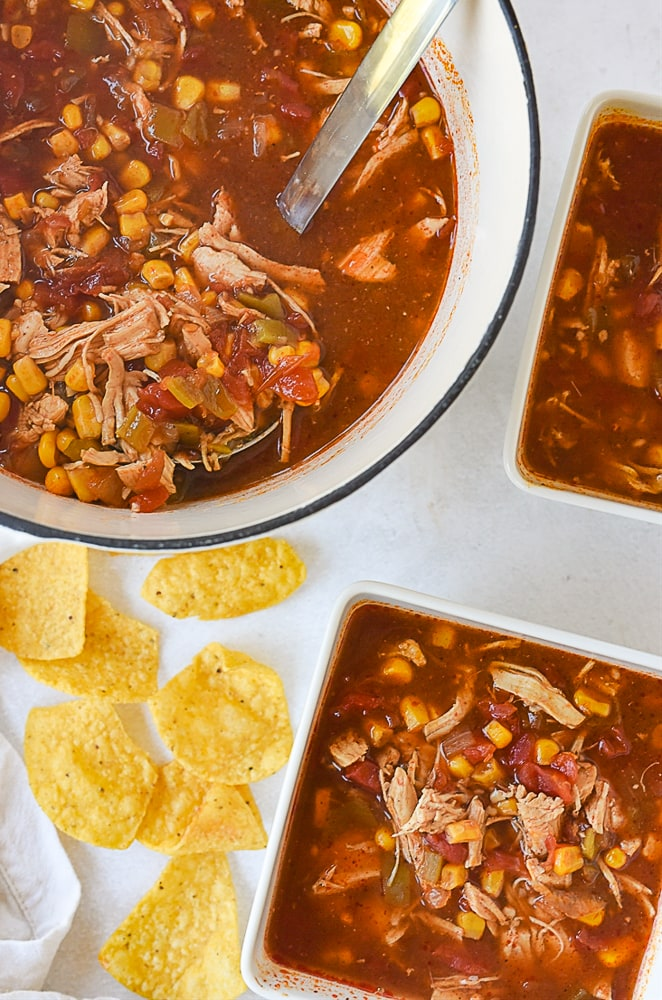 overhead shot of chicken tortilla soup
