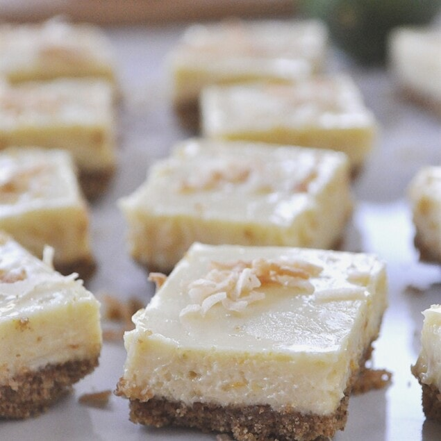 squares of citrus lime cheesecake bars