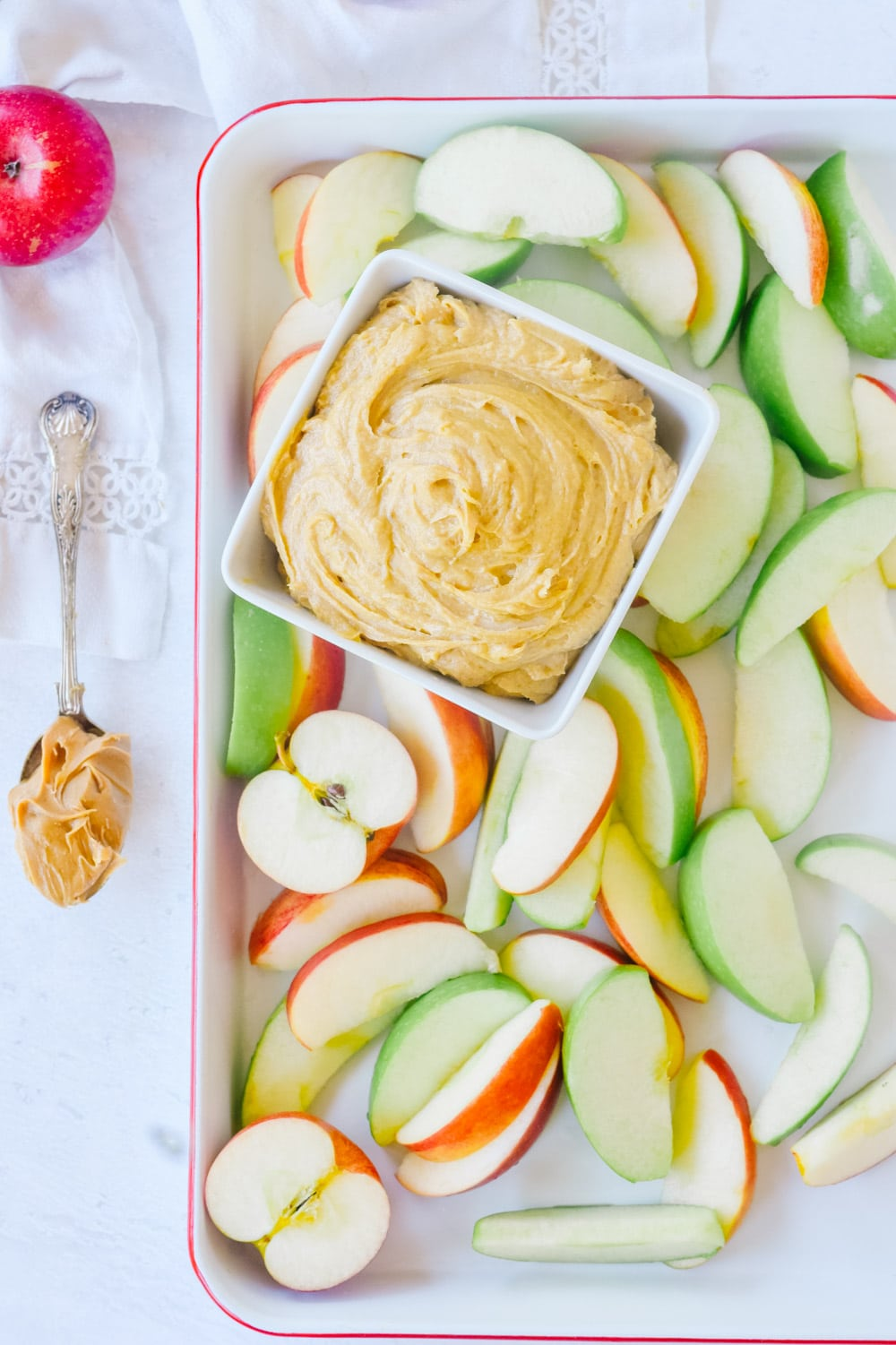 tray of apples with peanut butter dip