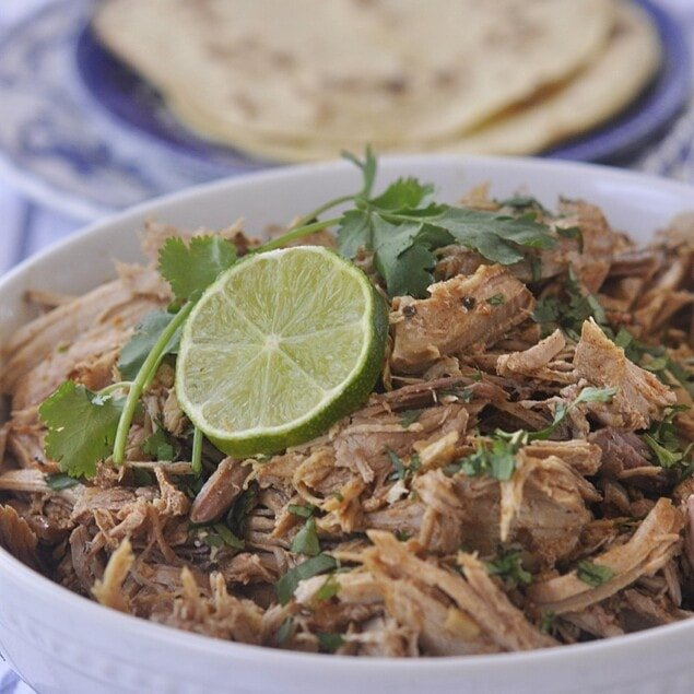 bowl of slow cooker mexican pork