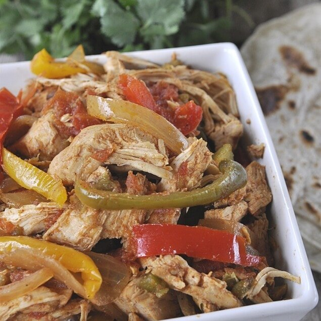 bowl of chicken fajitas